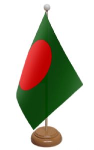 Bangladesh Desk / Table Flag with wooden stand and base